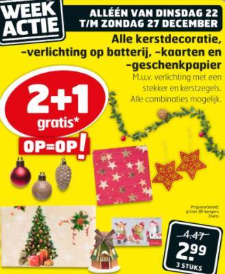 2+1 op veel soorten kerstartikelen @ Kruidvat & Trekpleister