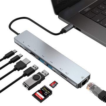 Bakeey USB-C hub (8 verschillende aansluitingen op je USB-C poort)
