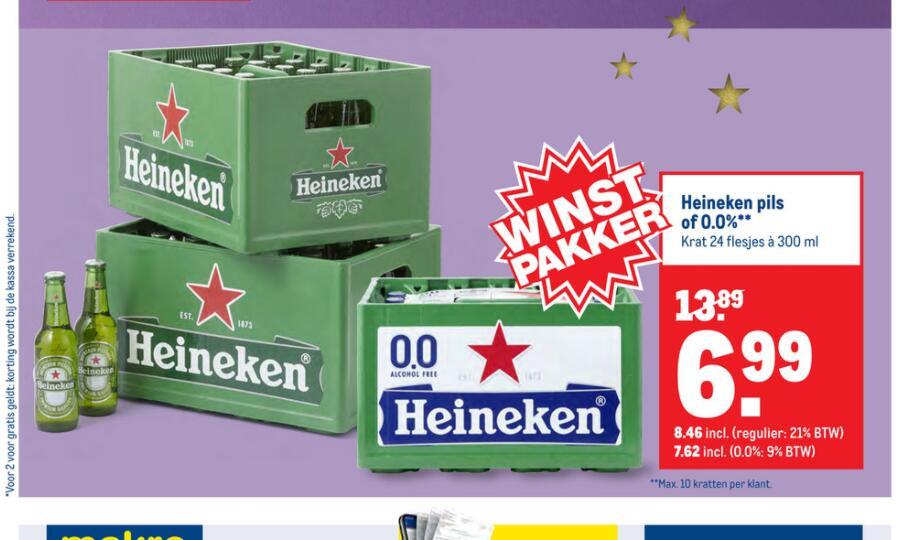 Kratje Heineken voor 8,46 of 0.0 voor 7,62 @Makro