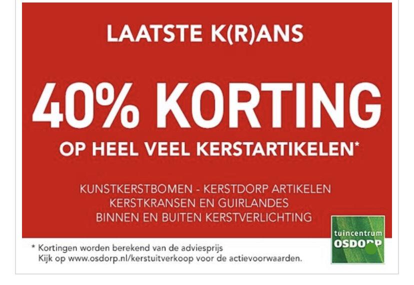 40% korting op veel kerstartikelen tuincentrum Osdorp (Alleen via de Webshop)