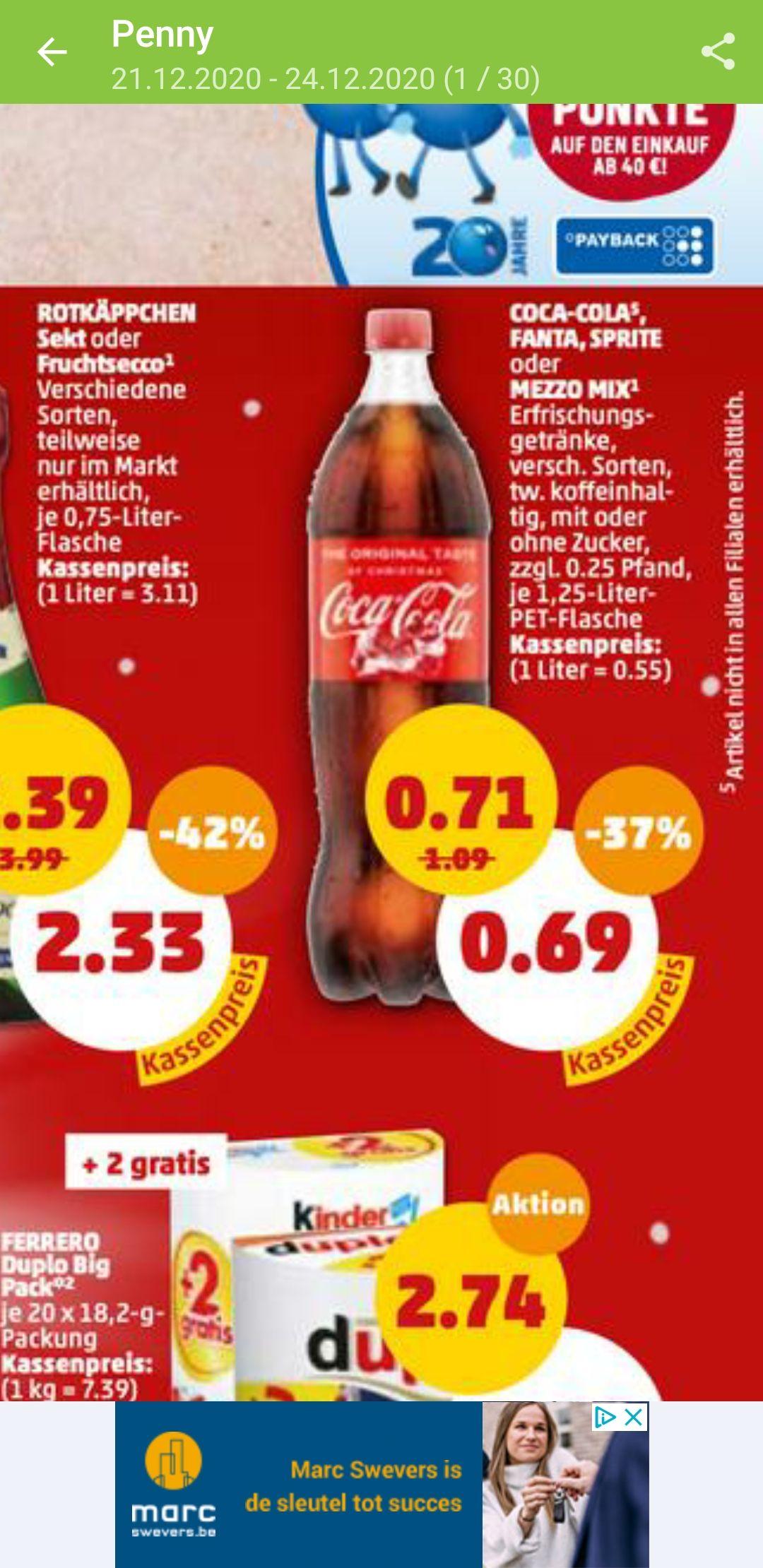 Grensdeal Fles Coca Cola 1,25 liter slechts 0,69€