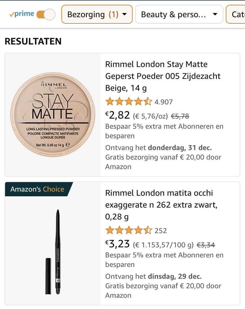 Rimmel London Make-up scherp geprijsd bij Amazon.nl