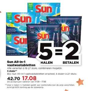 5=2 Sun All-in-1 vaatwastabletten bij PLUS