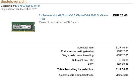 Transcend Jm2666Hsb-8G 8Gb DDR4 2666 MHz. SO-DIMM