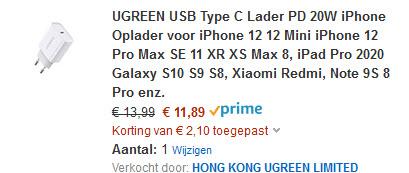 15% korting op UGREEN USB C lader @amazon.nl