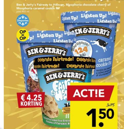 3 soorten Ben & Jerry's voor €1,50 per stuk bij Deen