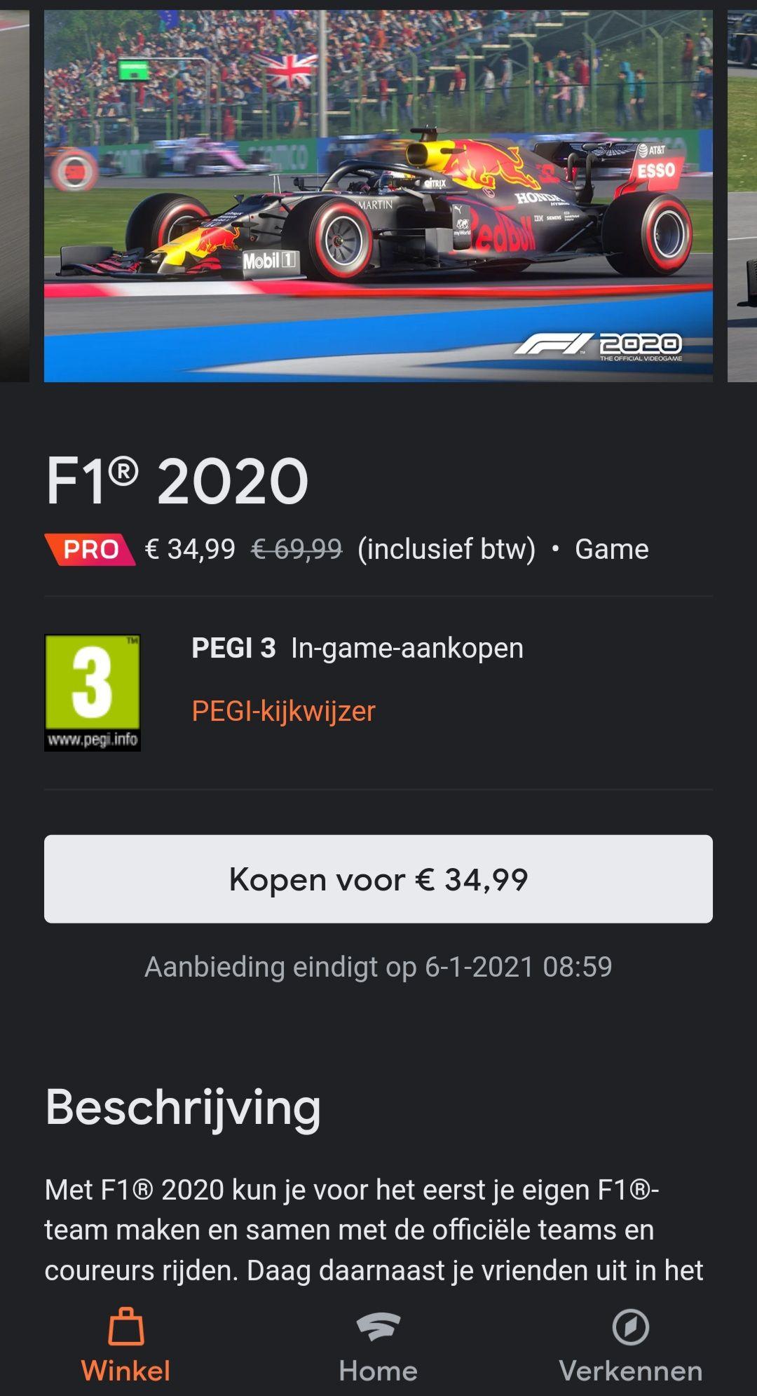 F1 2020 spel voor de Google Stadia.