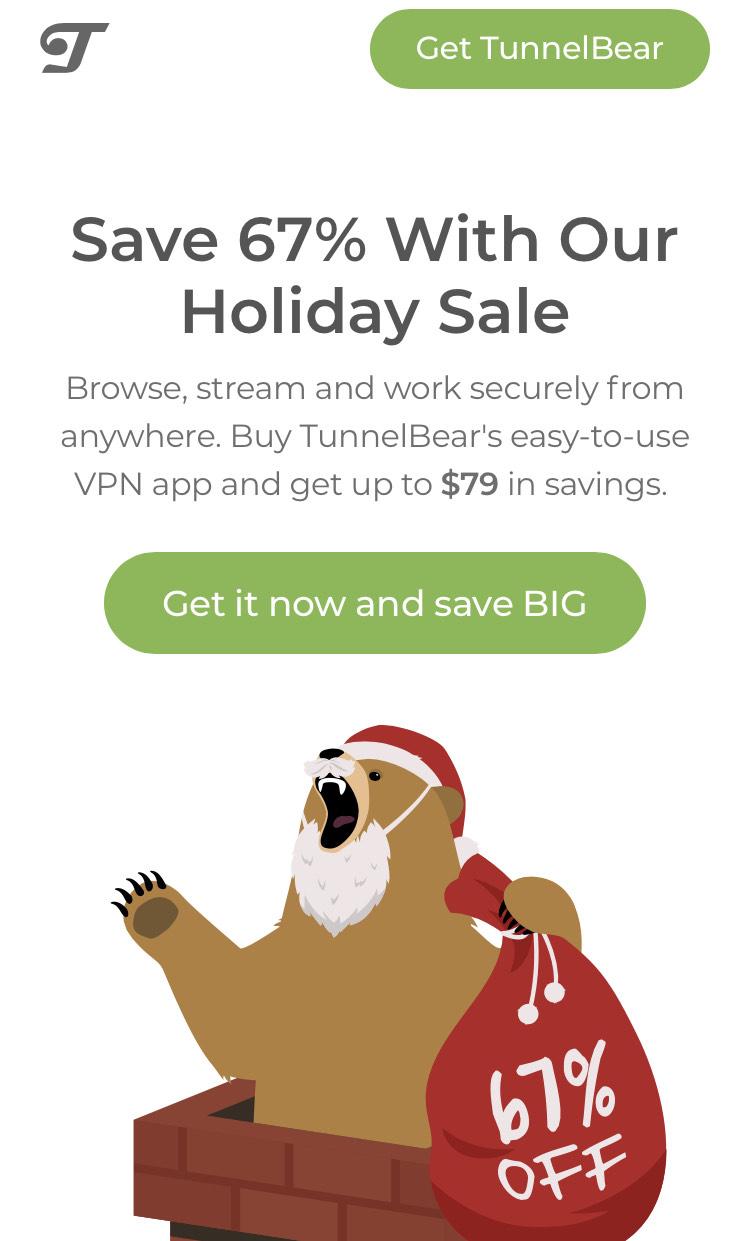 Tunnelbear VPN 67% KORTING