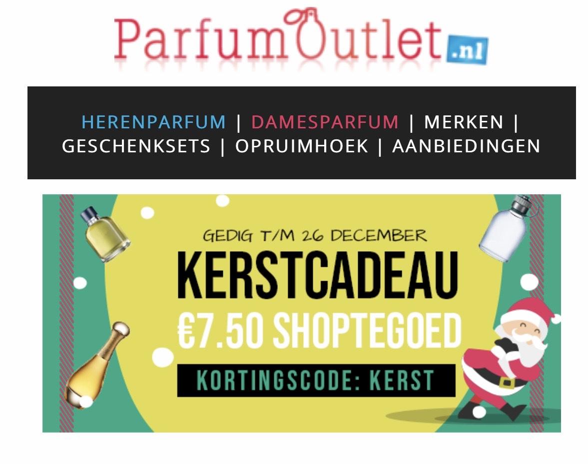 Parfumoutlet.nl €7,50 kortingscode KERST alleen 25 en 26 december!!!!