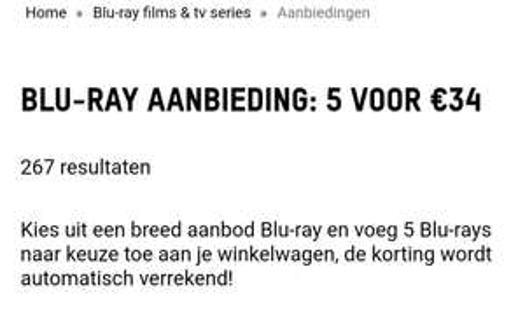 5 Blu-ray films voor €34,- @ Zavvi