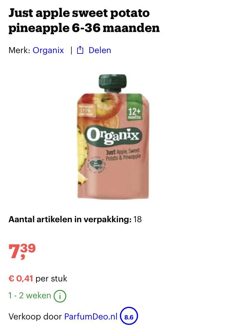 18x Organix Appel, zoete aardappel & Ananas 12+M Knijpfruit