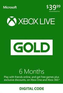 XBOX Live 6 Month Gold Membership Card Global