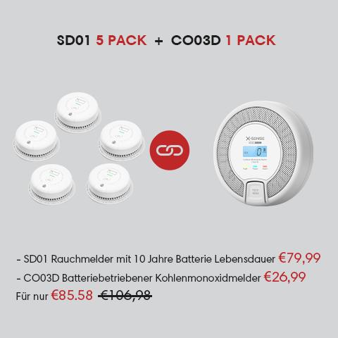 X-Sense SD01 5 st. + CO03D 1st. rookmelders pakket - verzonden uit Duitsland