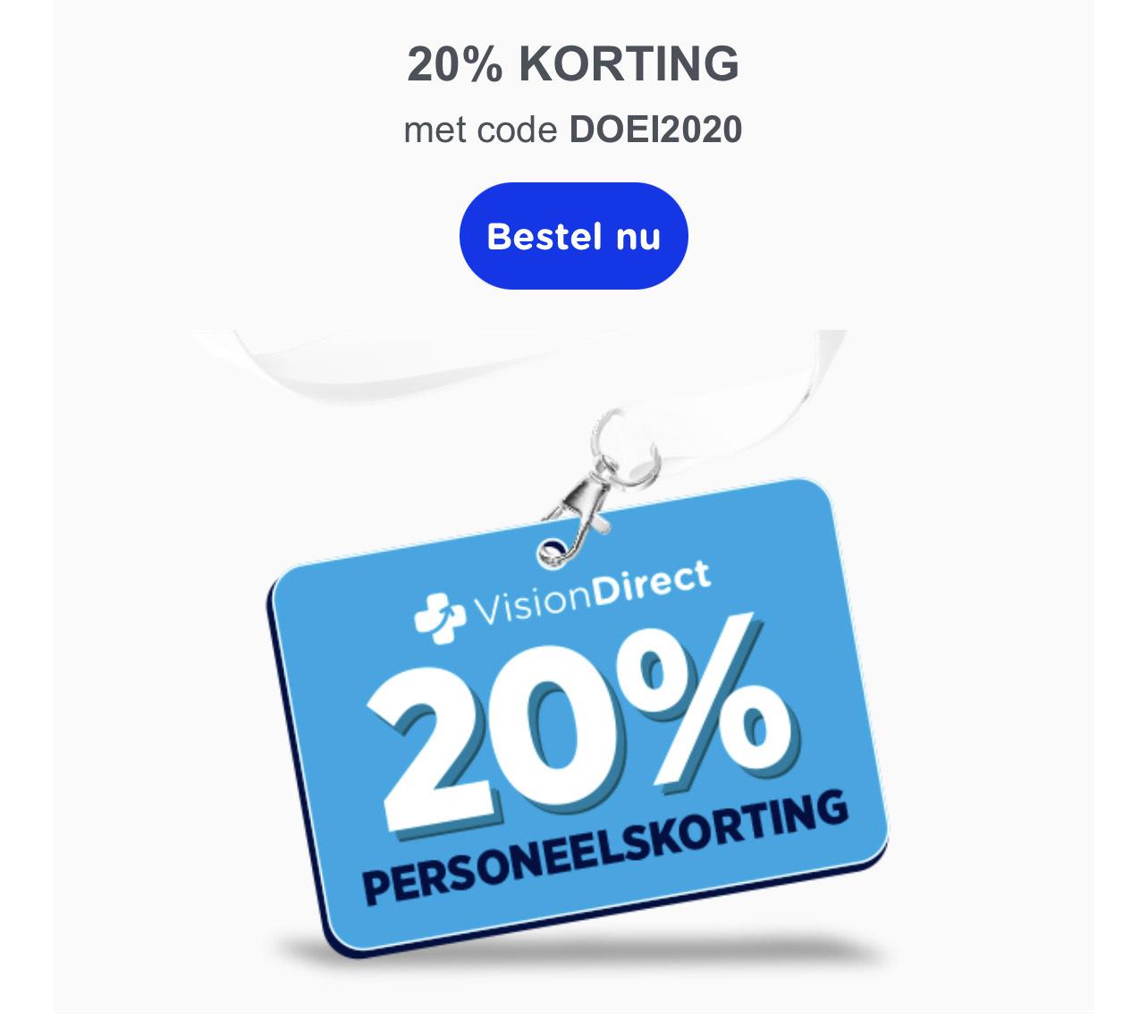 20% korting bij Visiondirect