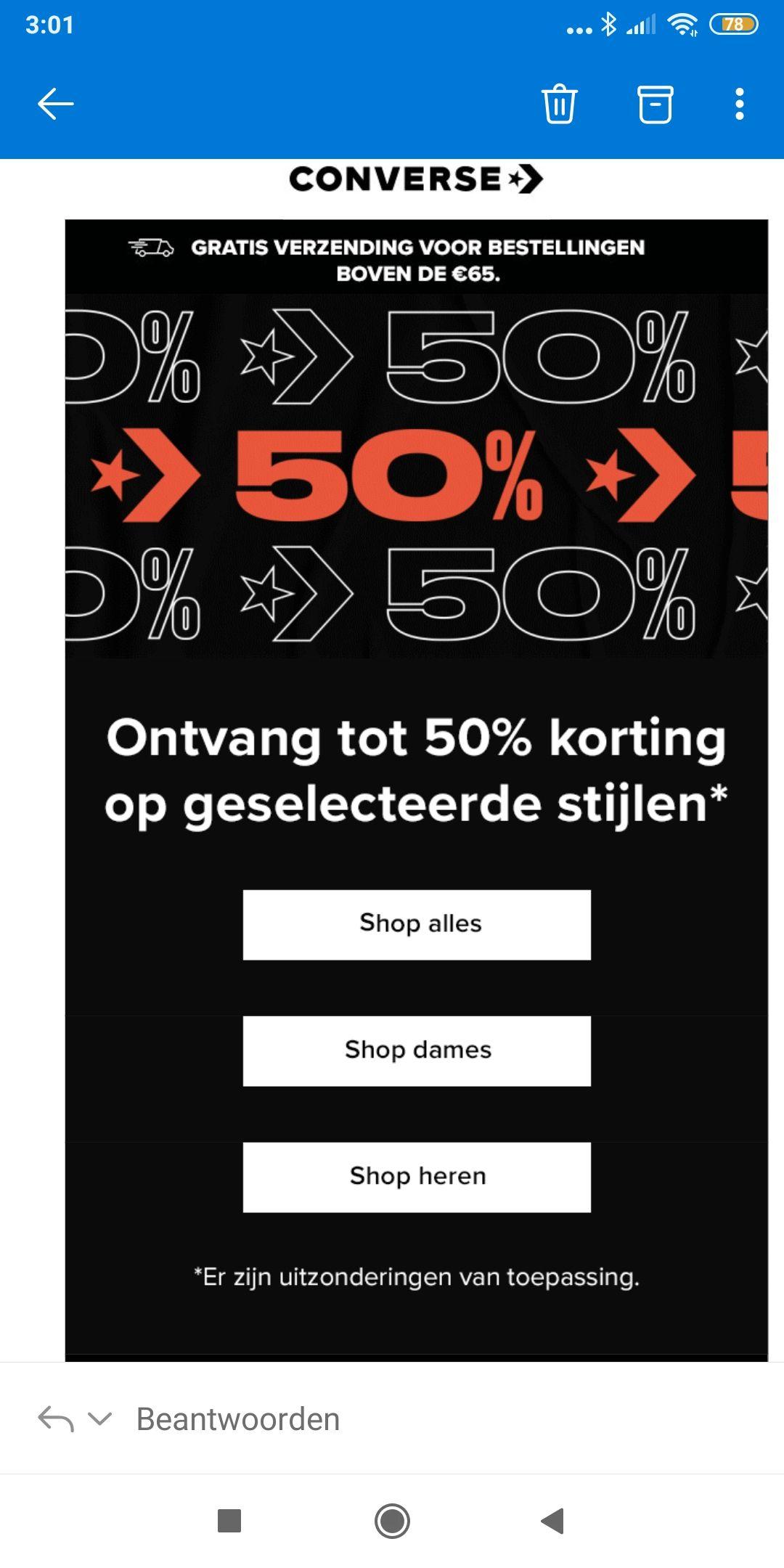 50% Korting op geselecteerde Converse items