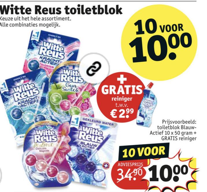 Witte reus toilettenblokken + gratis reiniger €10