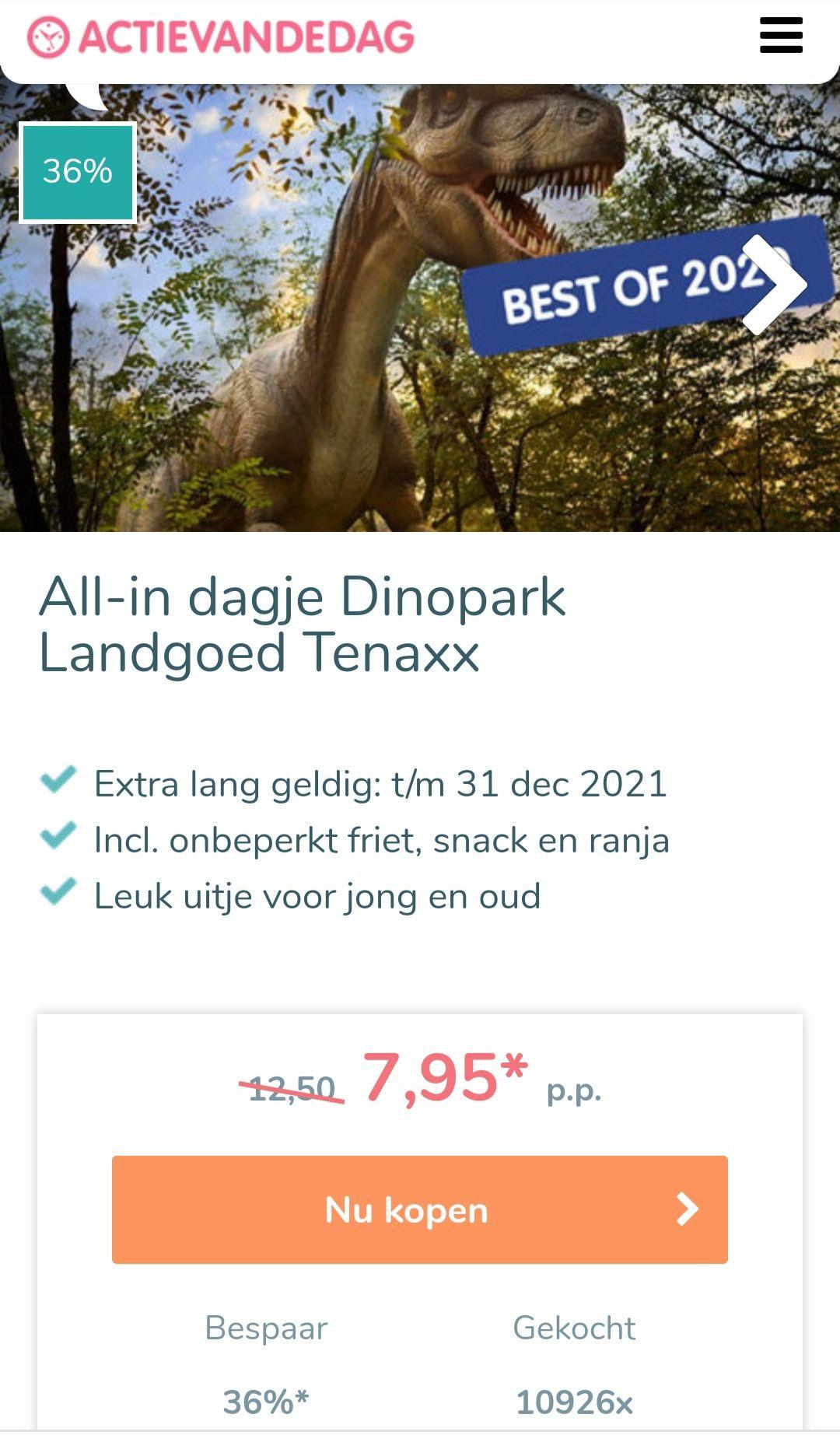 Dagje dinopark Tenaxx incl. Eten & drinken + 7,5 % cashback!!!