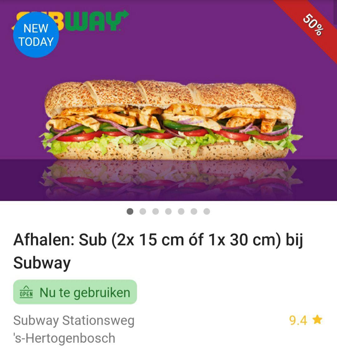 [Lokaal Den Bosch] Afhalen: Sub (2x 15 cm óf 1x 30 cm) bij Subway