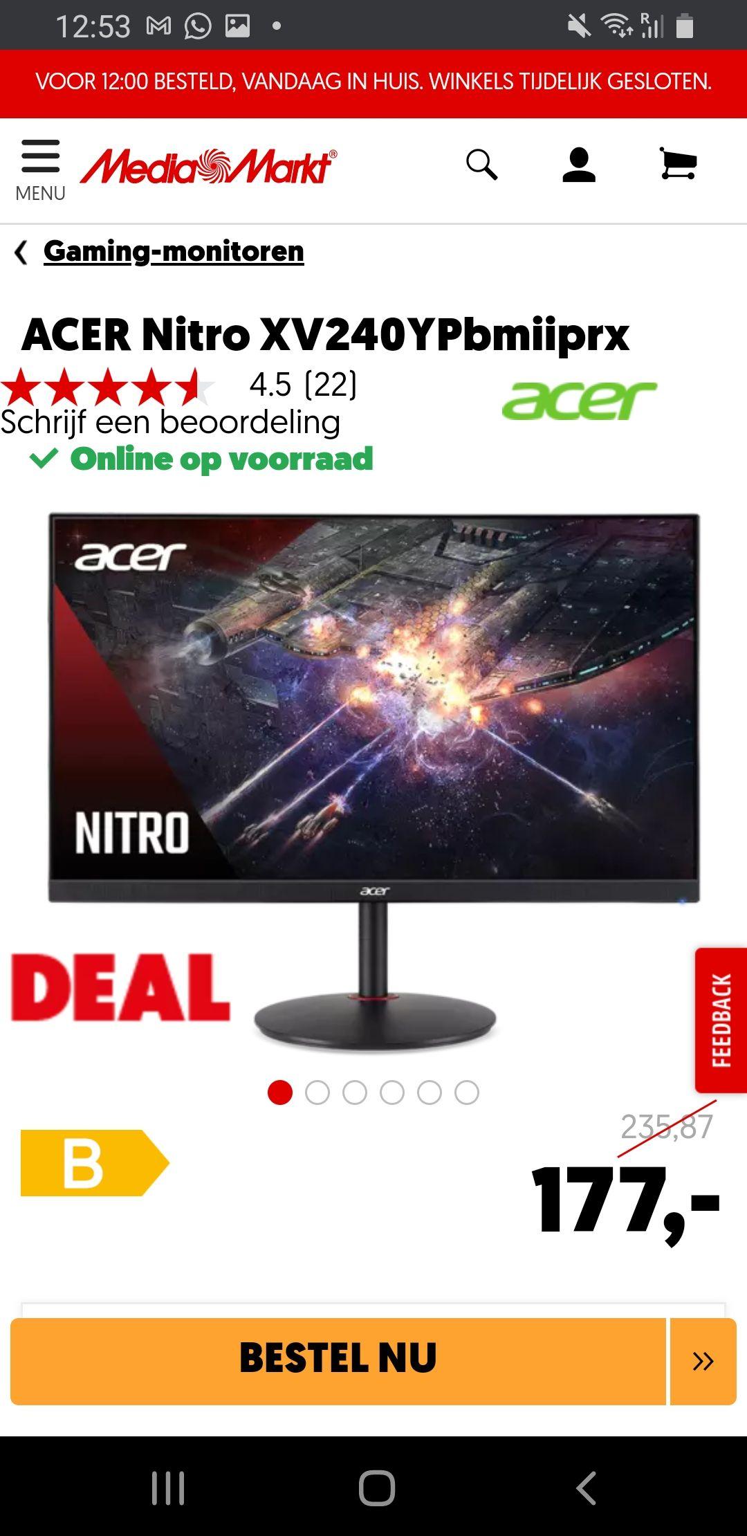 Acer 24' monitor 144hz