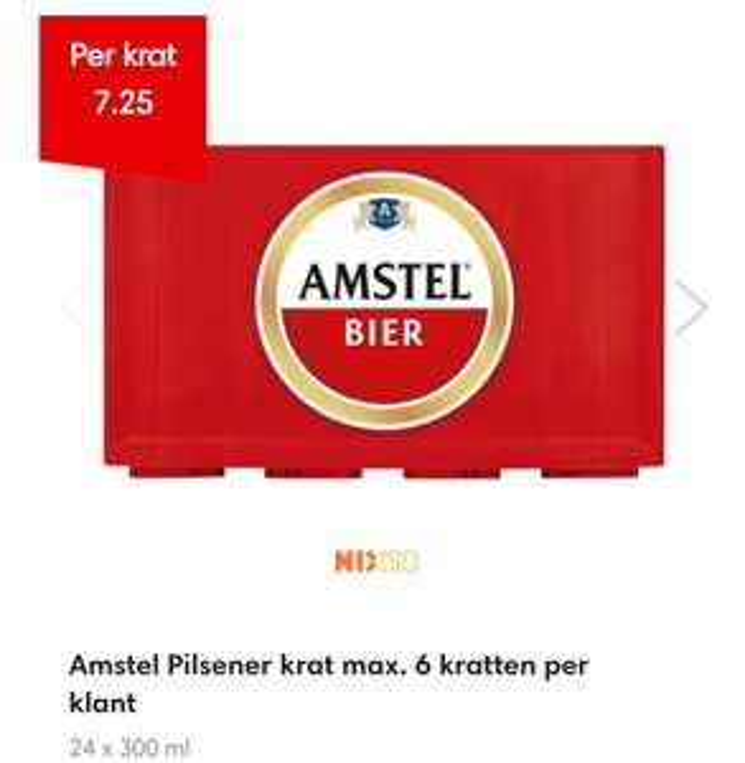 Krat Amstel bier € 7,25 @ Dekamarkt