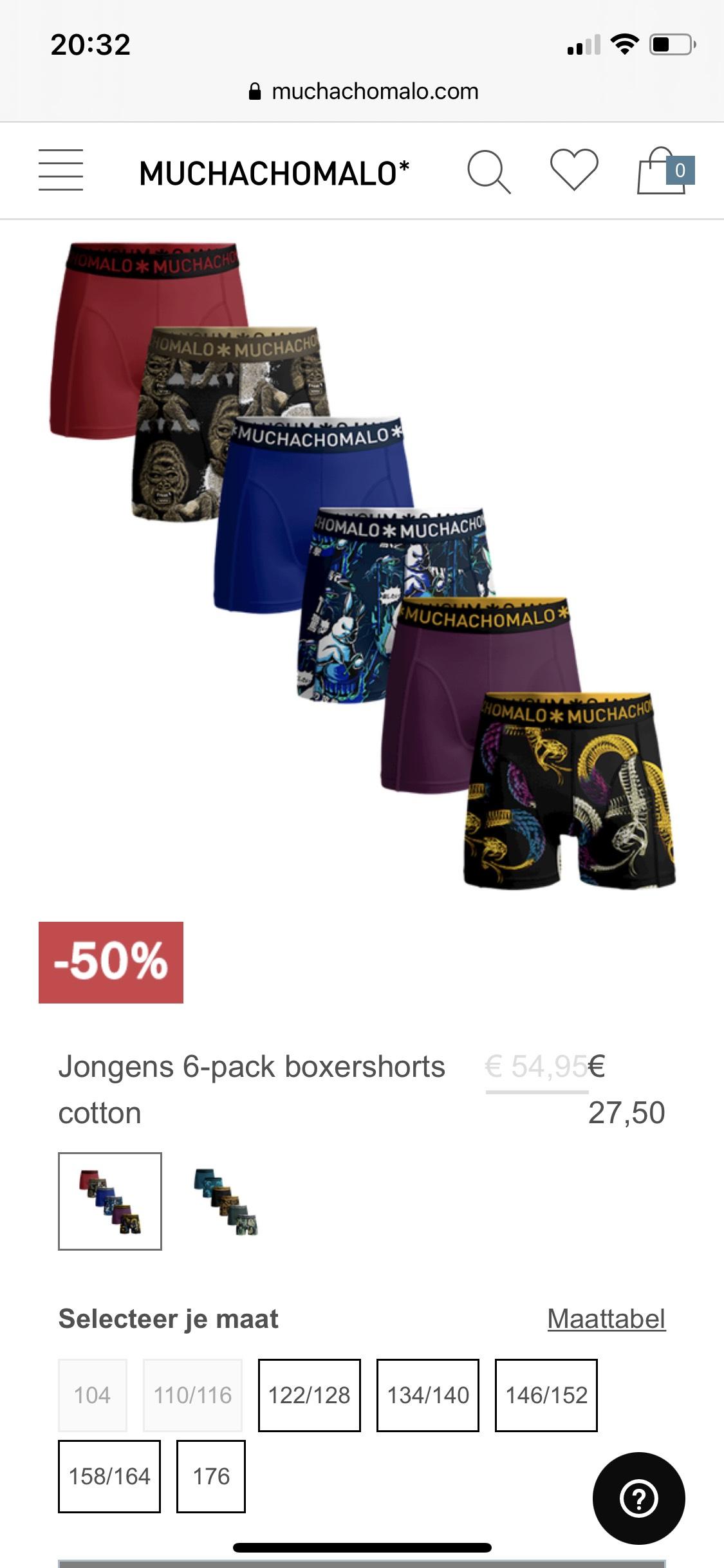 Kids boxershorts 6 pack - €4,40 per stuk @ Muchachomalo