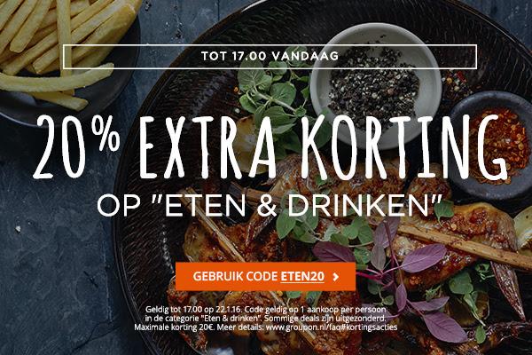 Tot 17u 20% extra korting op Eten & Drinken @ Groupon