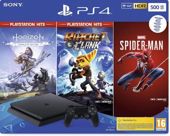 PlayStation 4 Slim (500 GB) + Spider-Man + Ratchet & Clank + Hoizon: Zero Dawn