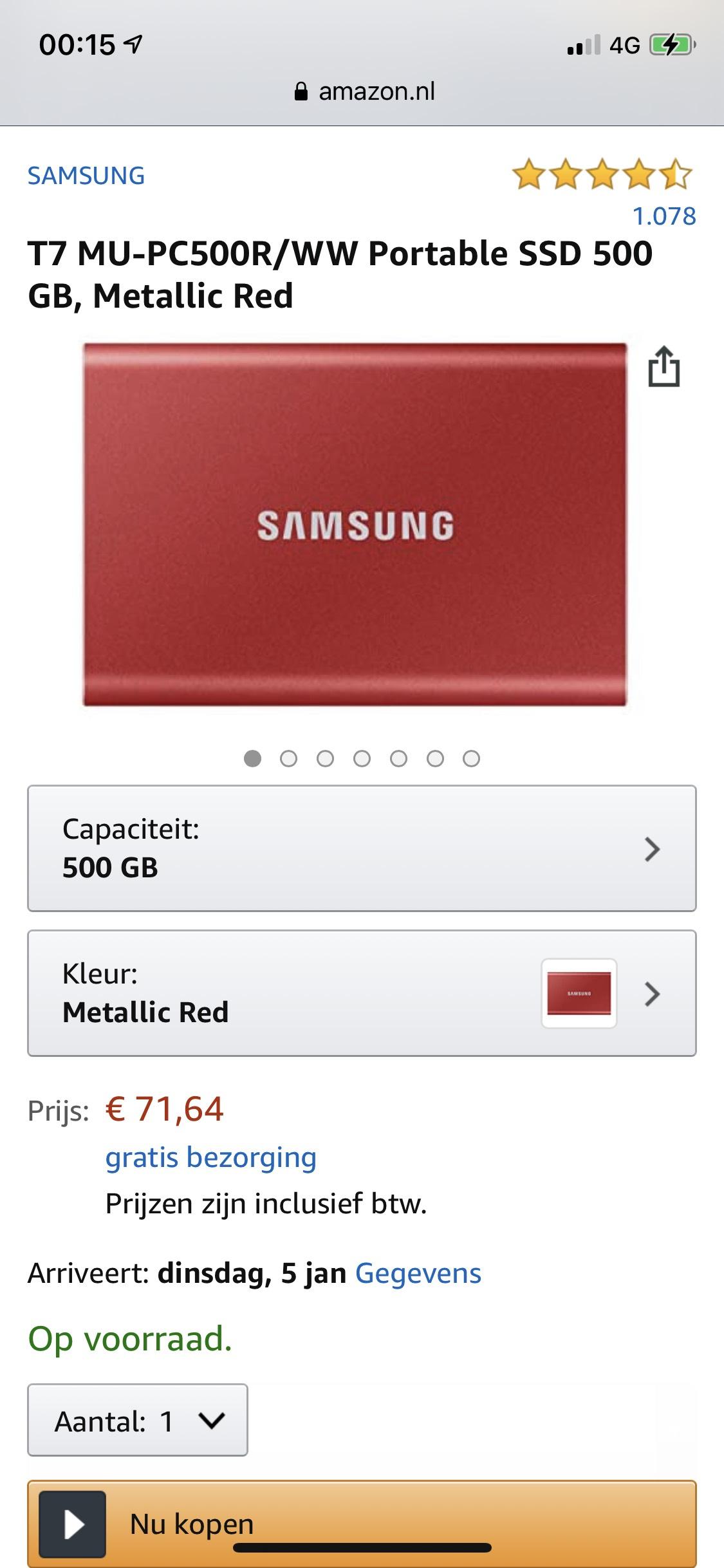 Samsung T7 portable SSD usb-c 500Gb