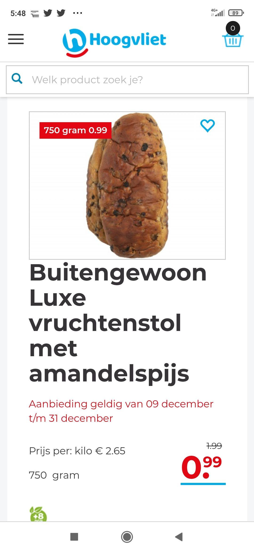 Luxe vruchtenstol met amandelspijs bij Hoogvliet