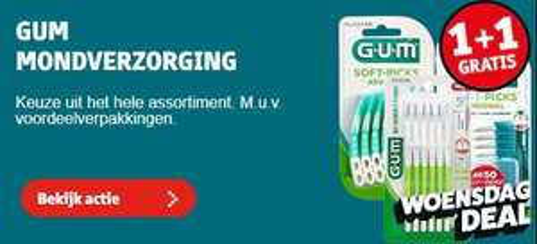 Kruidvat Dagdeal: GUM Mondverzorging 1 + 1 gratis