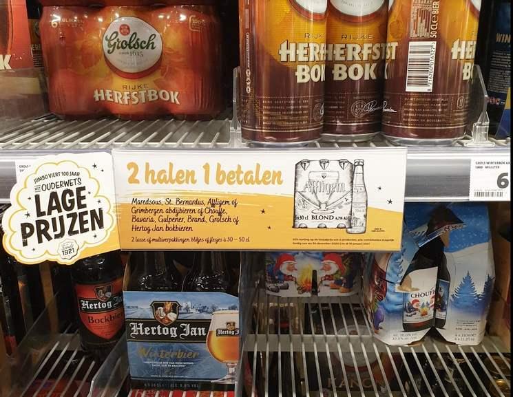 Speciaalbier 2e gratis bij Jumbo (Maredsous, St. Bernardus, Affligem en Grimbergen) en Bok (Chouffe, Bavaria, Gulpener, Brand Grolsch en HJ)