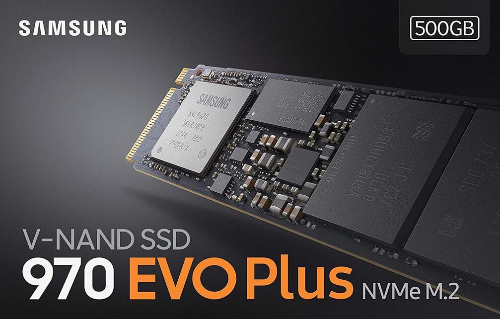 Samsung 970 Evo Plus NVMe Intern Solid State Drive, 500GB, Zwart