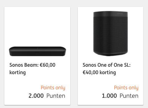 Korting op Sonos ONE / SL en Beam (ING Rentepunten)
