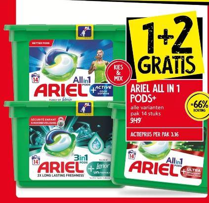 Ariel all in 1 pods+ 1+2 gratis bij Jan Linders