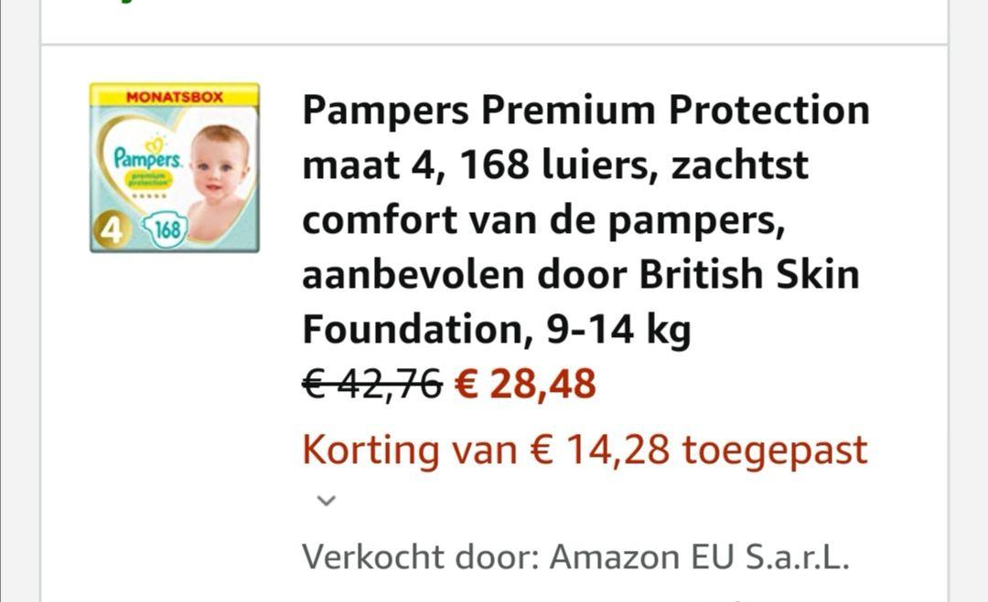 Hoge korting op Pampers Premium Protection en Pure Protection bij Amazon.de