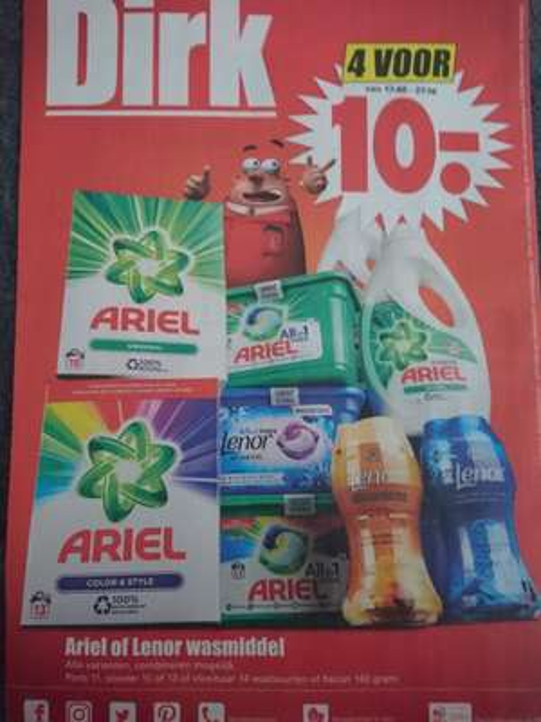 Ariel of Lenor wasmiddel 4 voor €10 bij Dirk