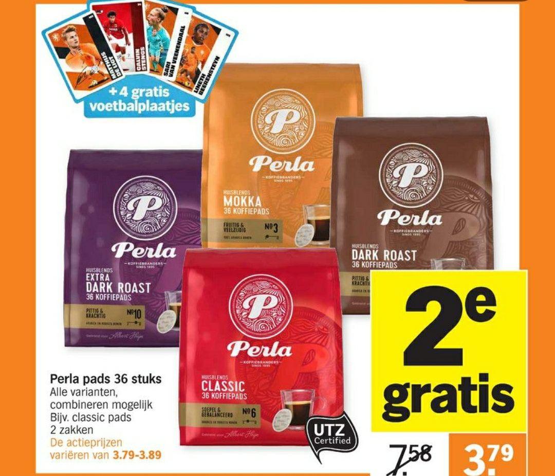 Perla koffie pads 2de gratis AH