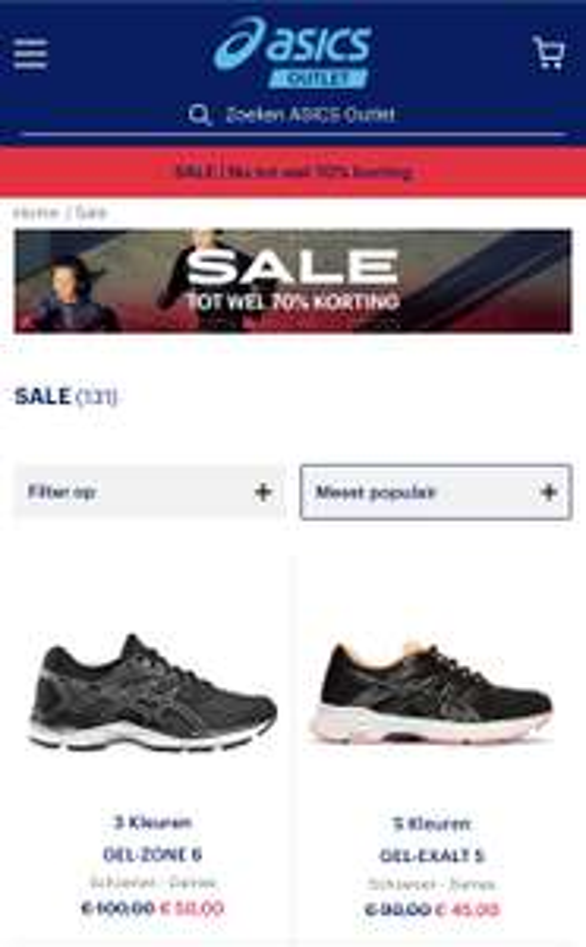 Sale @ ASICS tot 70% korting