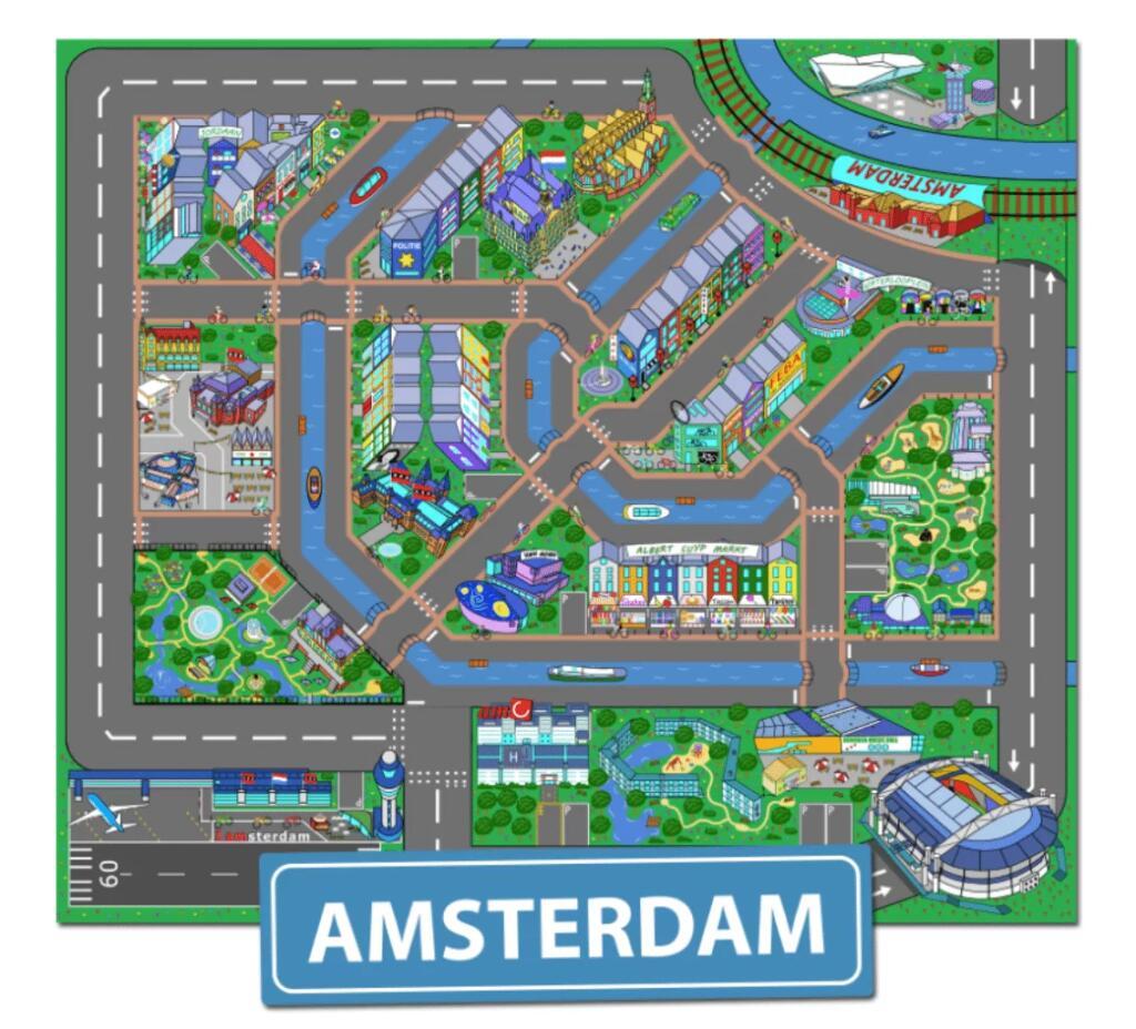 Korting op speelkleden Amsterdam, Den Haag, Enschede en Antwerpen.