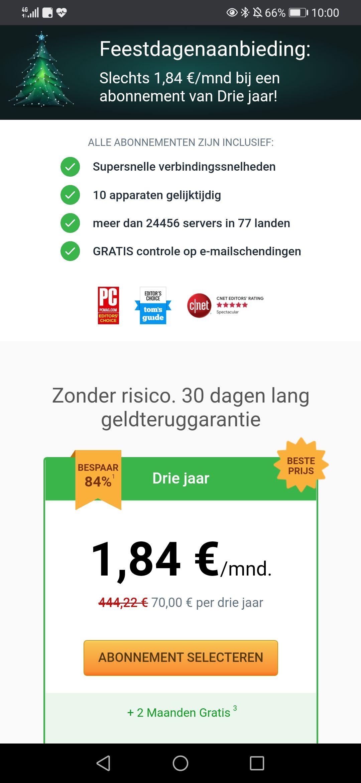Private Internet Access (VPN) 3 jaar voor 70 euro. 1,84 per maand.