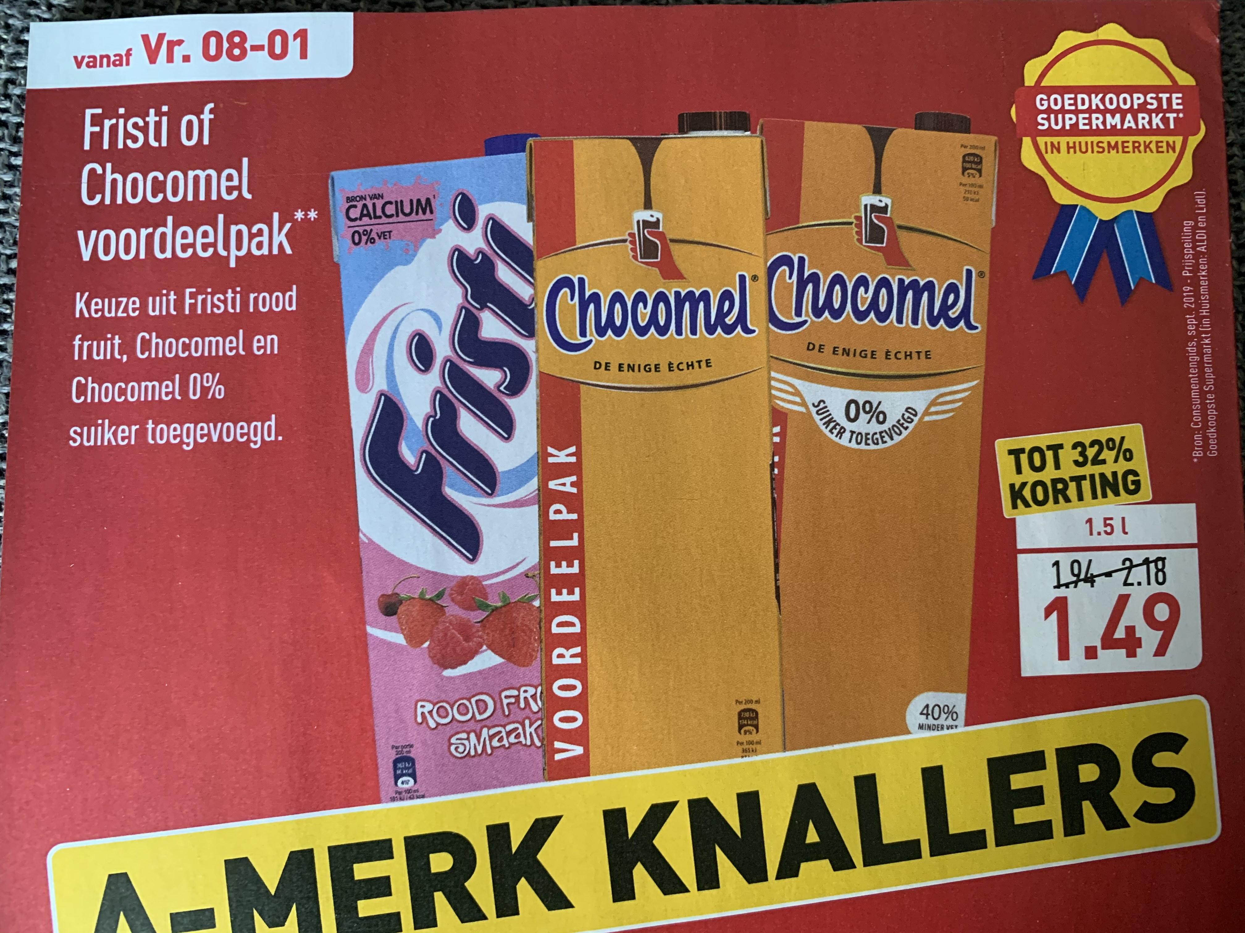 Aldi 1.5L Fristi of Chocomel (vanaf 8-1)