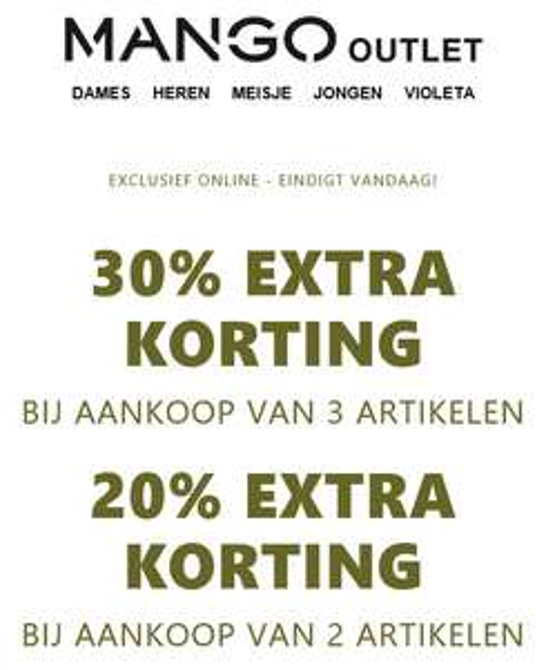 Met code 20-30% EXTRA korting @ MANGO Outlet