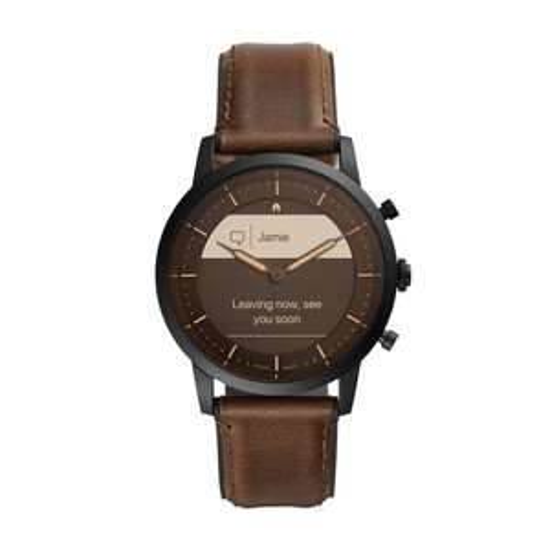 Fossil Collider Hybrid HR Smartwatch FTW7008 - Bruin (leren polsband)