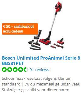 Bol.com & Coolblue.nl tot €70,- cashback of een accu cadeau na aankoop van een Bosch Unlimited steelstofzuiger