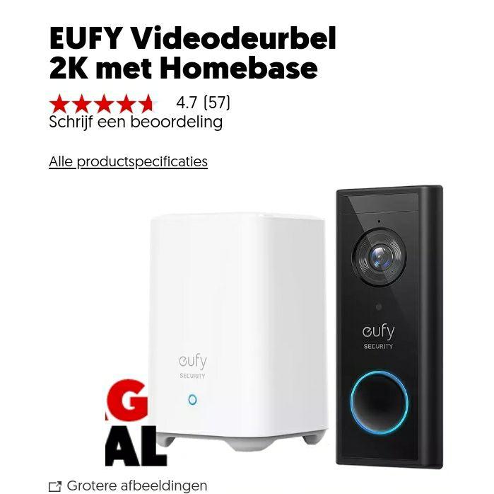 Eufy draadloos deurbel met homebase 2