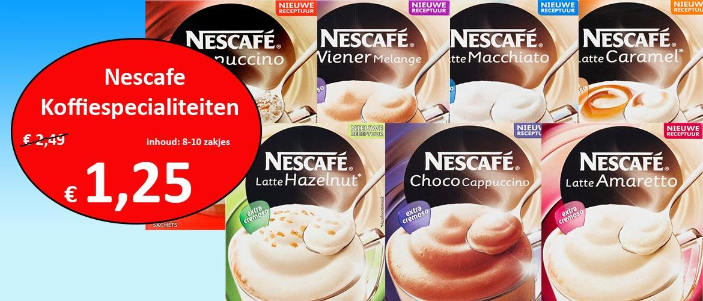 Nescafe oploskoffie diverse smaken 50% korting @ koffieafslag