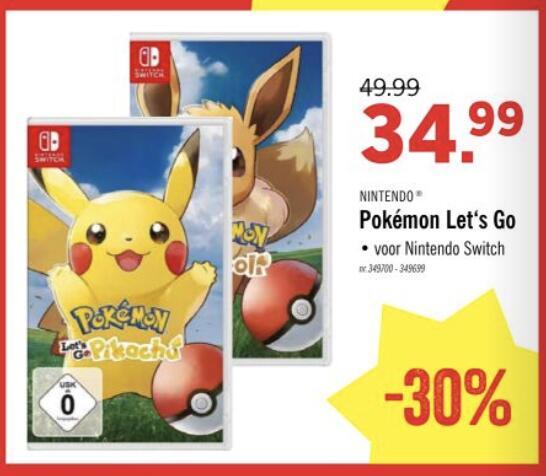 [BELGIE] Pokemon: Let's Go Pikachu! en Eevee! Nintendo Switch @LIDL België
