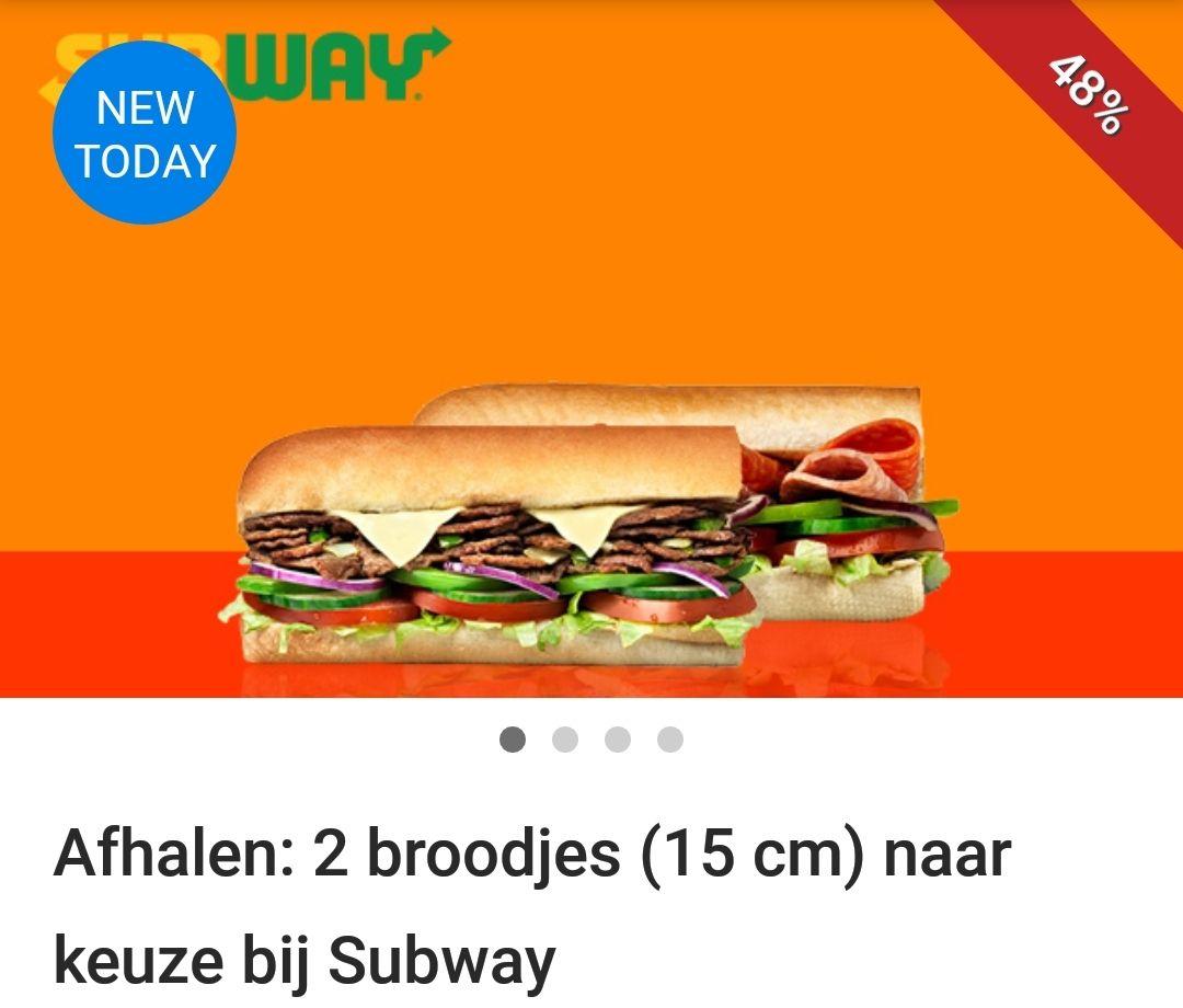 (LOKAAL) Subway 2 broodjes van 15 cm voor 5 euro