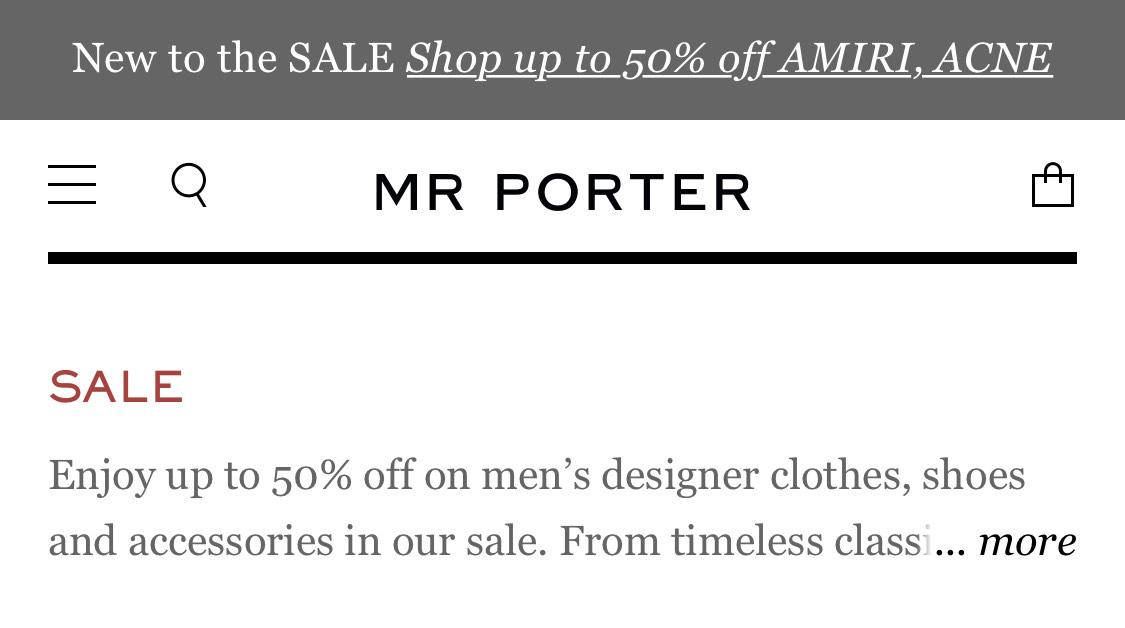 Mr Porter - tot 60% korting op high-end merken