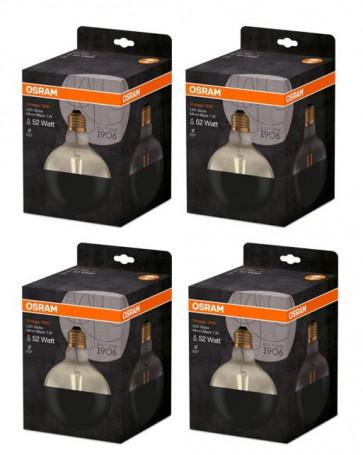 [DAGDEAL] 4-pack Osram Vintage 1906 LED E27 Globe 7W 827 kopspiegel - Zwart